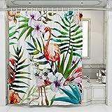 JOTOM Flamingo Duschvorhänge Grüne Tropical Palm Blätter Badewannenvorhang Schimmelresistenter & Wasserabweisend Shower Curtain mit 12 Duschvorhangringen 180x180cm (FlamingoB)