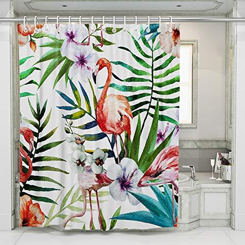 JOTOM Flamingo Duschvorhänge Grüne Tropical Palm Blätter Badewannenvorhang Schimmelresistenter und Wasserabweisend Shower Curtain mit 12 Duschvorhangringen 180x180cm (FlamingoB)