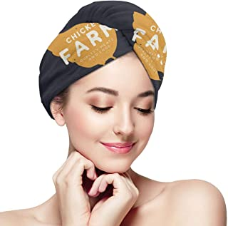 Shower Cap for Women and men,Logo Template With Hand Drawn Silhouette Of Hen In Vintage Style Dry hair cap one size