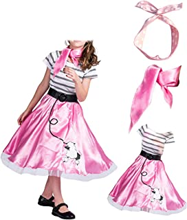 4-12years Old Girls 1950's Pink Poodle Dress and Scarf Costume Evening Wear for Party