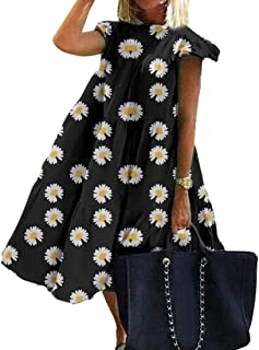 MU2M Women's A-Line Dresses Crewneck Casual Patchwork Short Sleeve Print Midi Dress