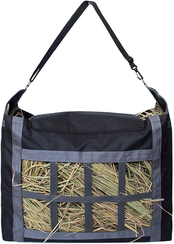 POPETPOP Horses Hay Net Bag Oxford Fabric Hay Bag Large Capacity Hay Feed Bag for Horses (Black)