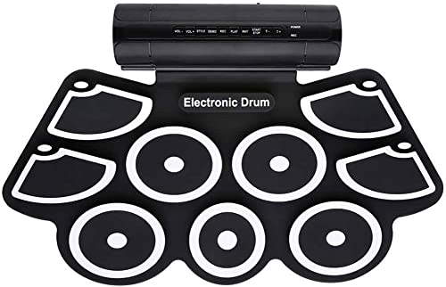 Vkospy Tragbare elektronische Trommel-Stereo Dual-Lautsprecher Practice Pad Silicon Roll Up Kit Sticks Foot Pedal Sustain