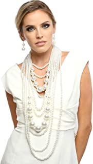 Fashion 21 Women's Chunky Multi-Strand Simulated Pearl Statement Necklace and Earrings Set in Cream Color