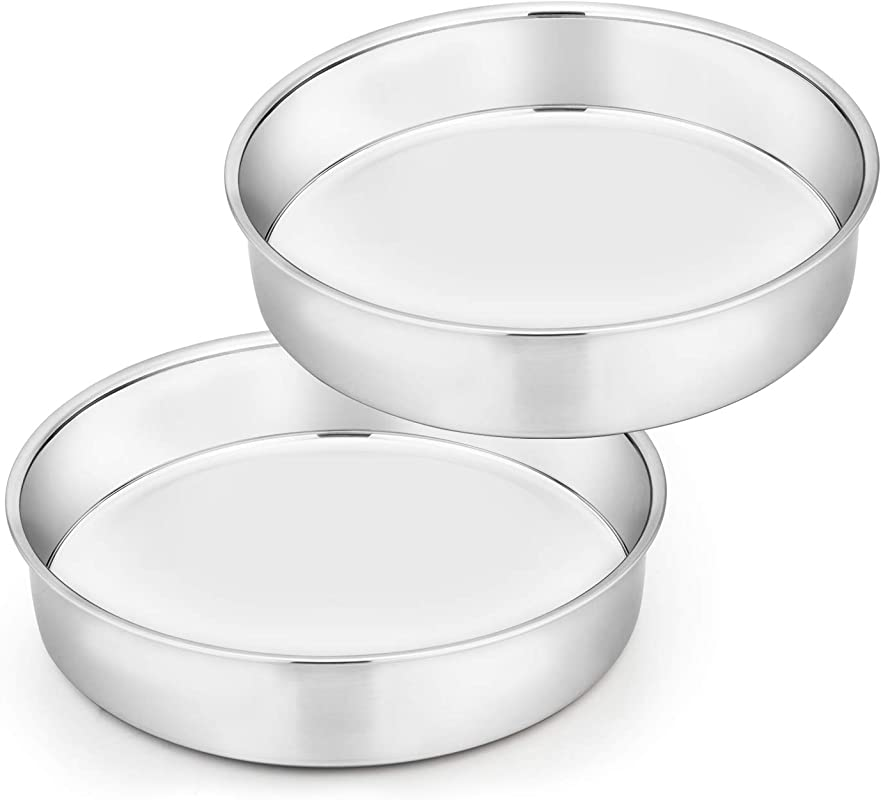 TeamFar Cake Pan Set Of 2 8 Inch Cake Pan Round Tier Cake Pan Set Stainless Steel Healthy Heavy Duty Mirror Finish Easy Clean Dishwasher Safe