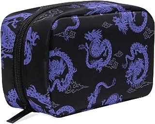 MASSIKOA Purple Japanese Dragon Handy Cosmetic Pouch Clutch Makeup Bag Organizer Travel Bag