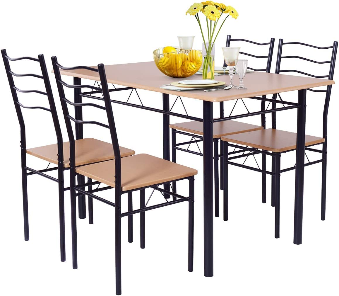 Giantex Modern 9 Piece Dining Table Set with 9 Chairs Metal Frame Wood Like  Tabletop Kitchen Furniture Retangular Table & Chair Sets for Dining Room ...