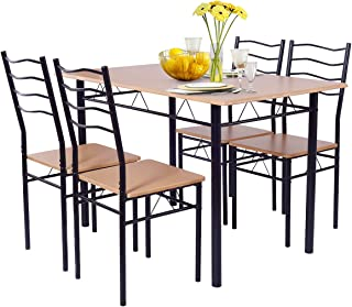 Giantex Modern 5 Piece Dining Table Set with 4 Chairs Metal Frame Wood Like Tabletop Kitchen Furniture Retangular Table & Chair Sets for Dining Room (Beech Wood)