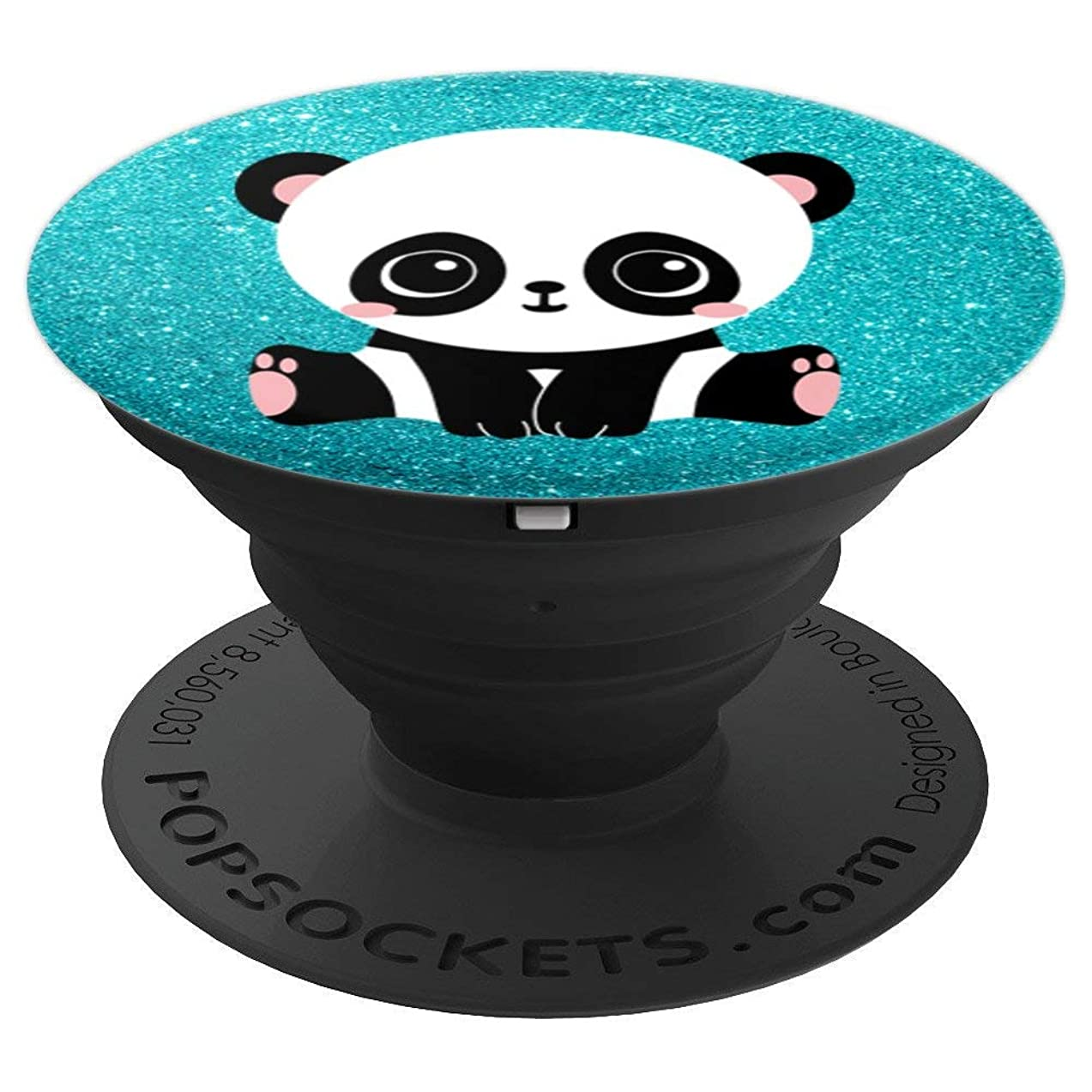 Cute Kawaii Panda Bear Colorful Teal Sparkle Effect - PopSockets Grip and Stand for Phones and Tablets