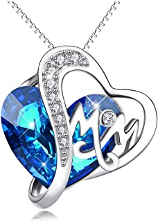 AOBOCO 925 Sterling Silver Mom Necklace with Blue Heart...