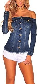 Cresay Women's Sexy Off Shoulder Long Sleeve Denim Jacket Coat with Pockets
