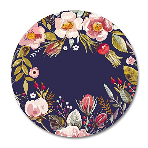 Natural Rubber Mousepad by Smooffly,Vintage Background with Hand Drawn Floral Wreath Mousepad Round Non Slip Rubber Mouse pad Gaming Mouse Pad