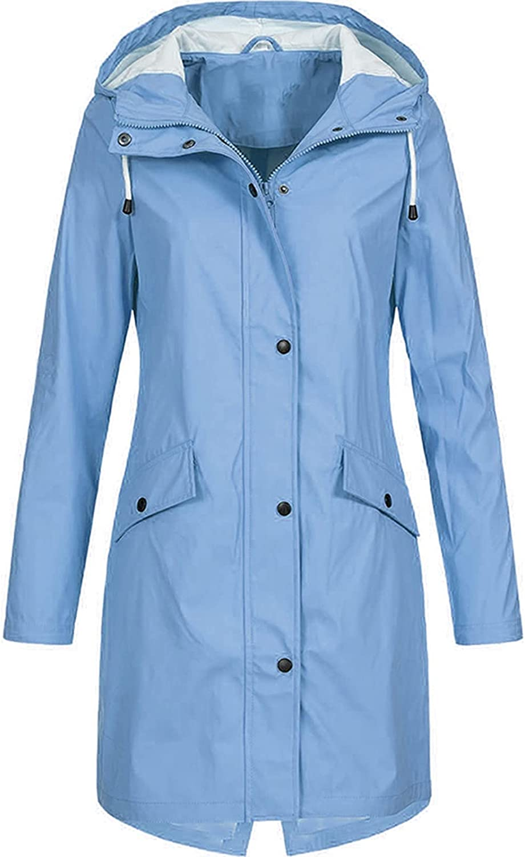 Women's Long Winter Windbreaker Lightweight Solid Warm Jacket Button up Coat Zipper Comfy Hiking Outwear with Pocket