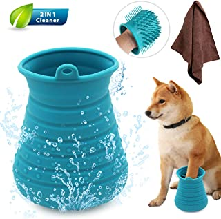 Idepet Dog Paw Cleaner Cup with Towel Pet Foot Washer Protable Dog Cleaning Brush for Puppy Cats Massage Grooming Dirty Claws