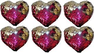 Sequin Heart Pillows for Slumber Party Favors, Decoration or Get Well Wishes for Kids - 6 Reversible Mini Mermaid Style Pink Heart Pillows