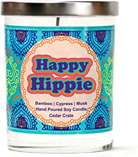 Happy Hippie | Bamboo, Cypress, Musk | Luxury Scented Soy Candles |10 Oz. Jar Candle | Made in The USA | Decorative Aromatherapy for Women | 30th Birthday Gifts for Women | Funny Candle Gifts