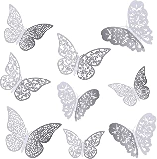 36 PCS 3D Metallic Hollow Butterfly Wall Decals Sticker, Wall Decal Decor Art Decorations Sticker Set, DIY/Handmade,Remova...
