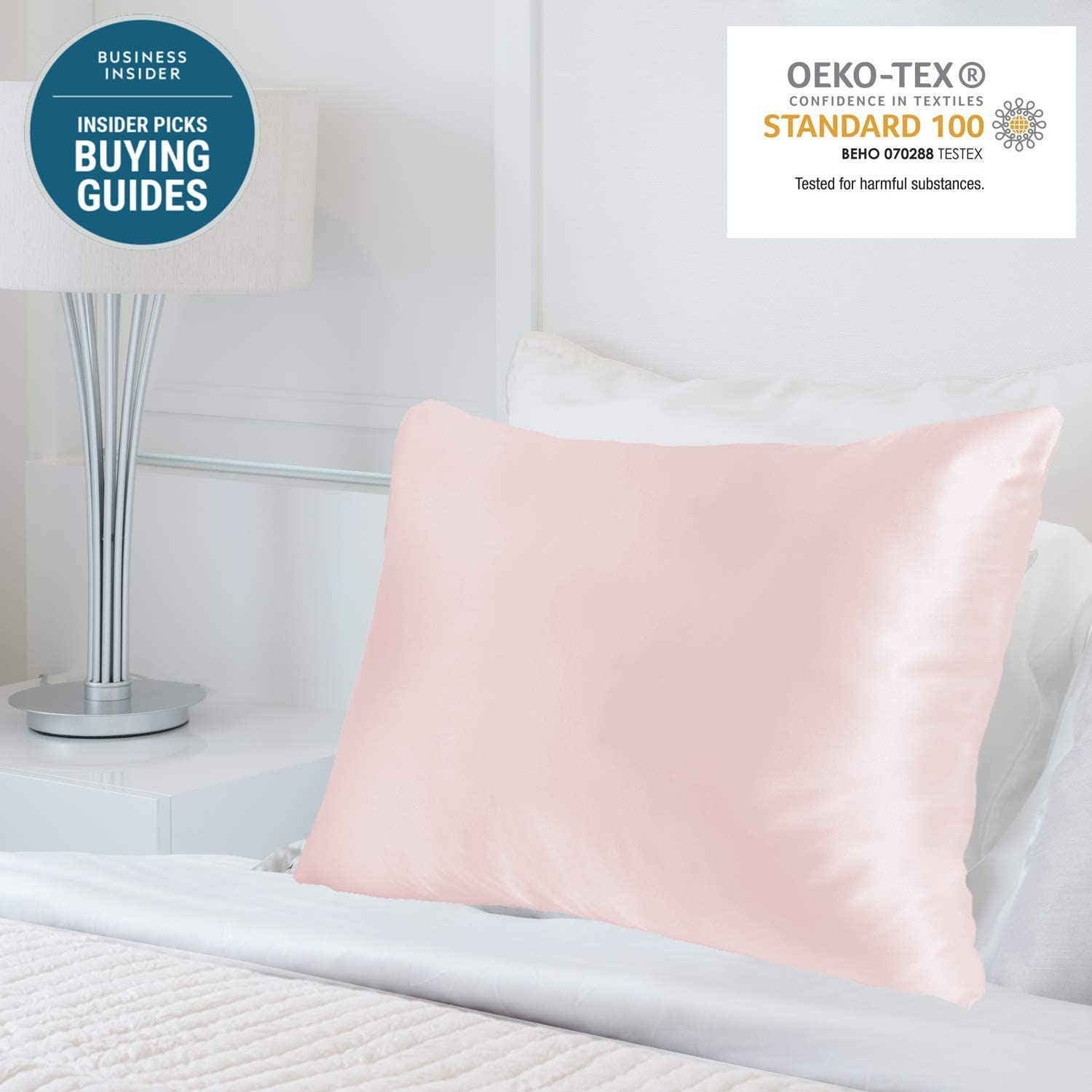 MYK Silk 25 Momme Luxury Mulberry Silk Pillowcase, Oeko-TEX Certified, Hypoallegernic, Hair and Skin Care, Curly Friendly Essentials, Pink, King