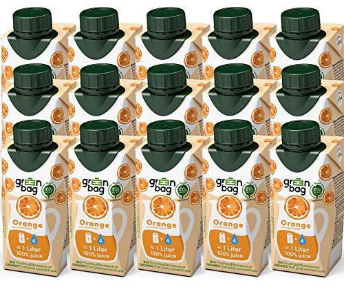 Green-Bag Bio Orangensaft Konzentrat zum Selbermischen mit Wasser - 15x 200ml Fruchtsaftkonzentrat = 15l Fruchtsaft aus frischen Orangen 100% natürlich Frucht Saft ohne Zucker Saftkonzentrat Getränk