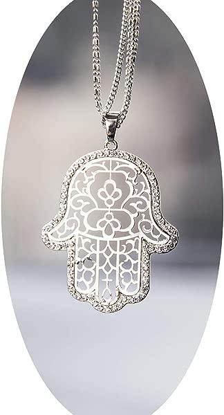 Boltz Hamsa Car Charm Rear View Mirror Accessories Car Mirror Hanging Ornaments Decoration Silver Color