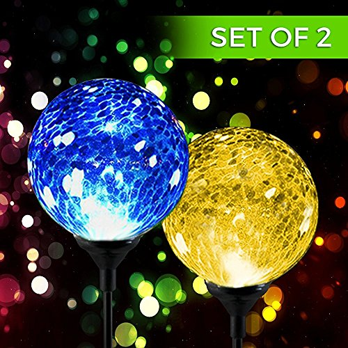 Solar Powered Crackle Glass Ball- Color Changing Stake Lights- Set of 2-100% Weatherproof Design- Decorative Landscape Lamps- Wireless Outdoor LED Accent Lighting- Best Decor for Garden/Yard/Path
