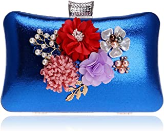 Vintage Flower Ladies Clutch, Bridal Party Purse, Ladies Pearl Flower Party Crossbody Bag for Formal Events (20 * 6 * 12Cm),Blue
