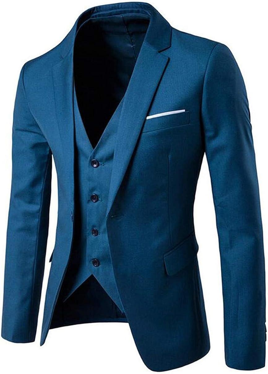3 Pieces Jacket+Vest+Pants Notched Collar Men's Suit Slim Fit One Button Suit Blazer Dress Business Wedding Groom Party