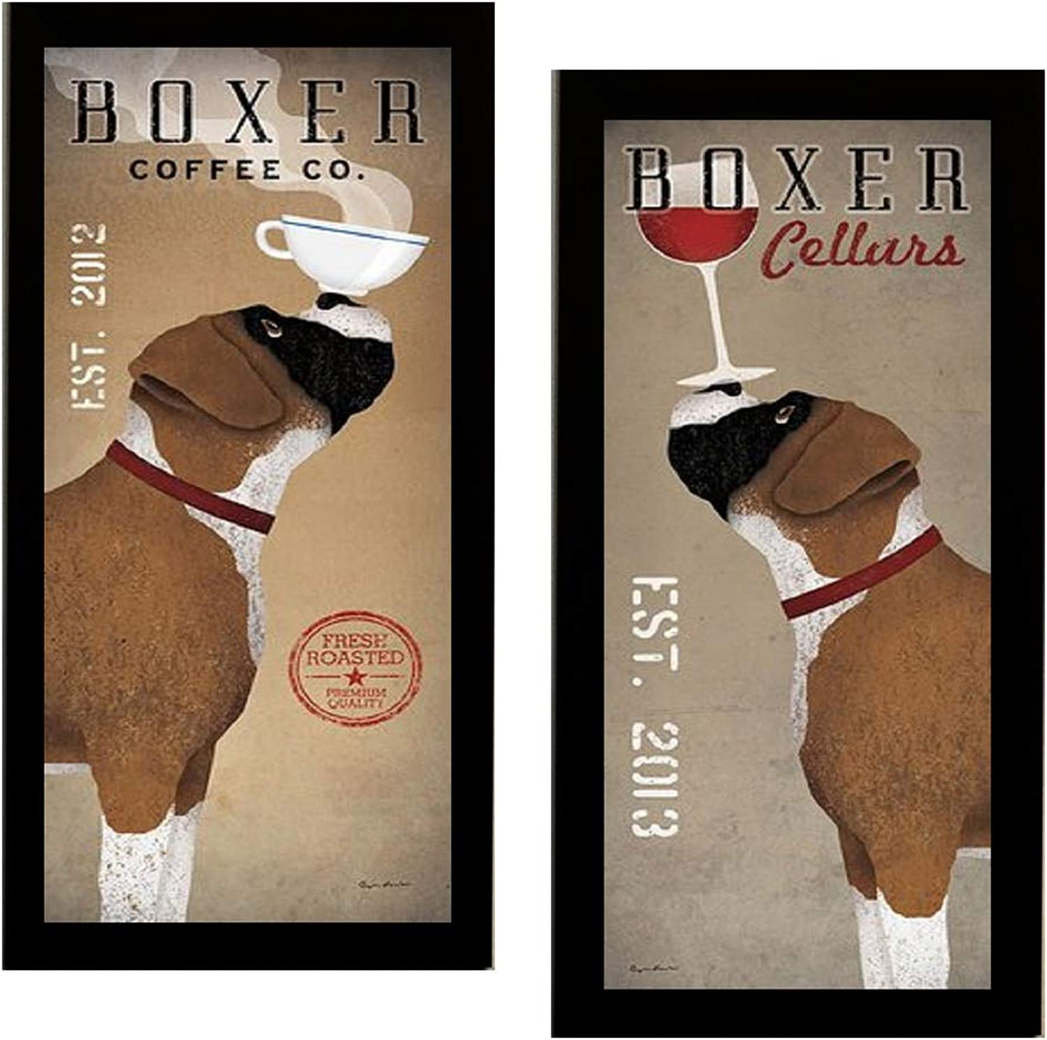 Boxer Coffee Co and Boxer Cellars by Ryan Fowler Framed 2 Picture Set Wine Coffee Dogs 11x23 Finished Size