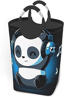 Panda blanc et noir Animal Casque Musique Panier à linge Panier à linge pliable en tissu Grand sac de vêtements sales Bac ...