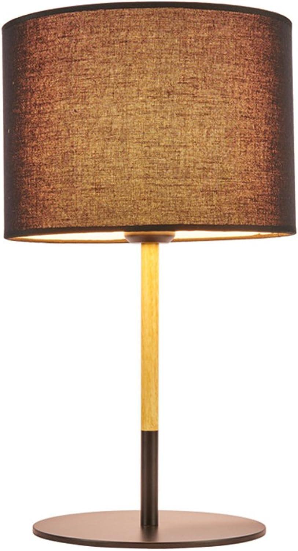 G-W-J Tischlampe Nordischen Stil Wohnzimmer Einfache Kreative Hardware Holzmaserung Schlafzimmer Nachttischlampe