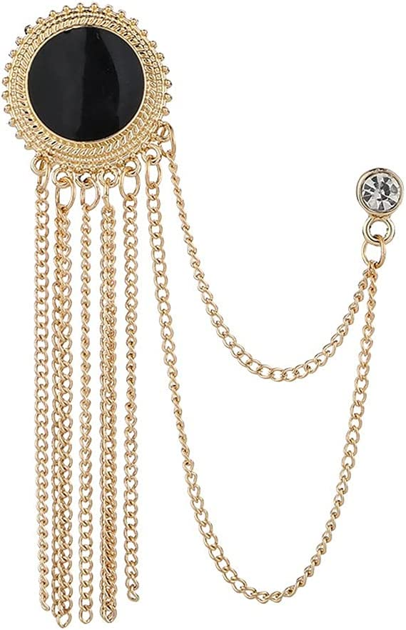 HBIN Metal Rhinestone Crystal Brooch Men's Suit Shirt Collar Pin Black Tassel Corsage Brooches Jewelry Accessories (Color : Gold)