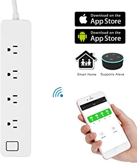 WiFi Smart Power Strip DDSKY Smart Plug 4 Outlets Separately Control Compatible with Amazon Echo for iOS/Android (Large)