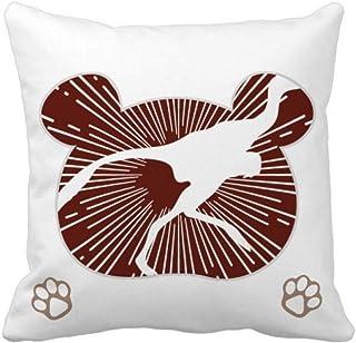 OFFbb-USA - Funda de almohada cuadrada con plumas de pájaro, diseño de oso Predator