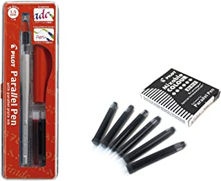 Lote 1 Pluma Caligráfica Pilot Parallel Pen plumin 1.5 mm Recargable + Caja con 6 Recambios Color Negro Pluma Pilot Parallel Pen