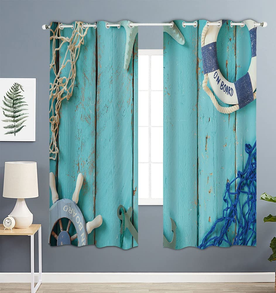 Kameng Blackout Window Curtains 84 Max 88% OFF of inches Pattern Nautic Attention brand Long