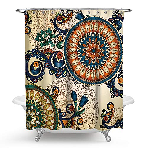 PHNAM Mandala Shower Curtain with Hooks 72x72 Inches Big...