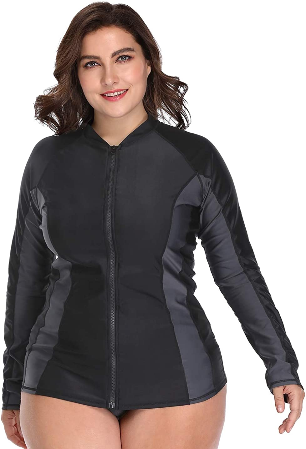 ATTRACO Womens Plus Size Long Sleeve Rash Guard Top Zipper Swimsuit Swim Shirt