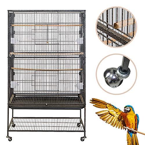Froadp Vogelvoliere Vogelkäfig Voliere groß Vogelhaus mit Rollen für Nymphensittiche, Papageien,...