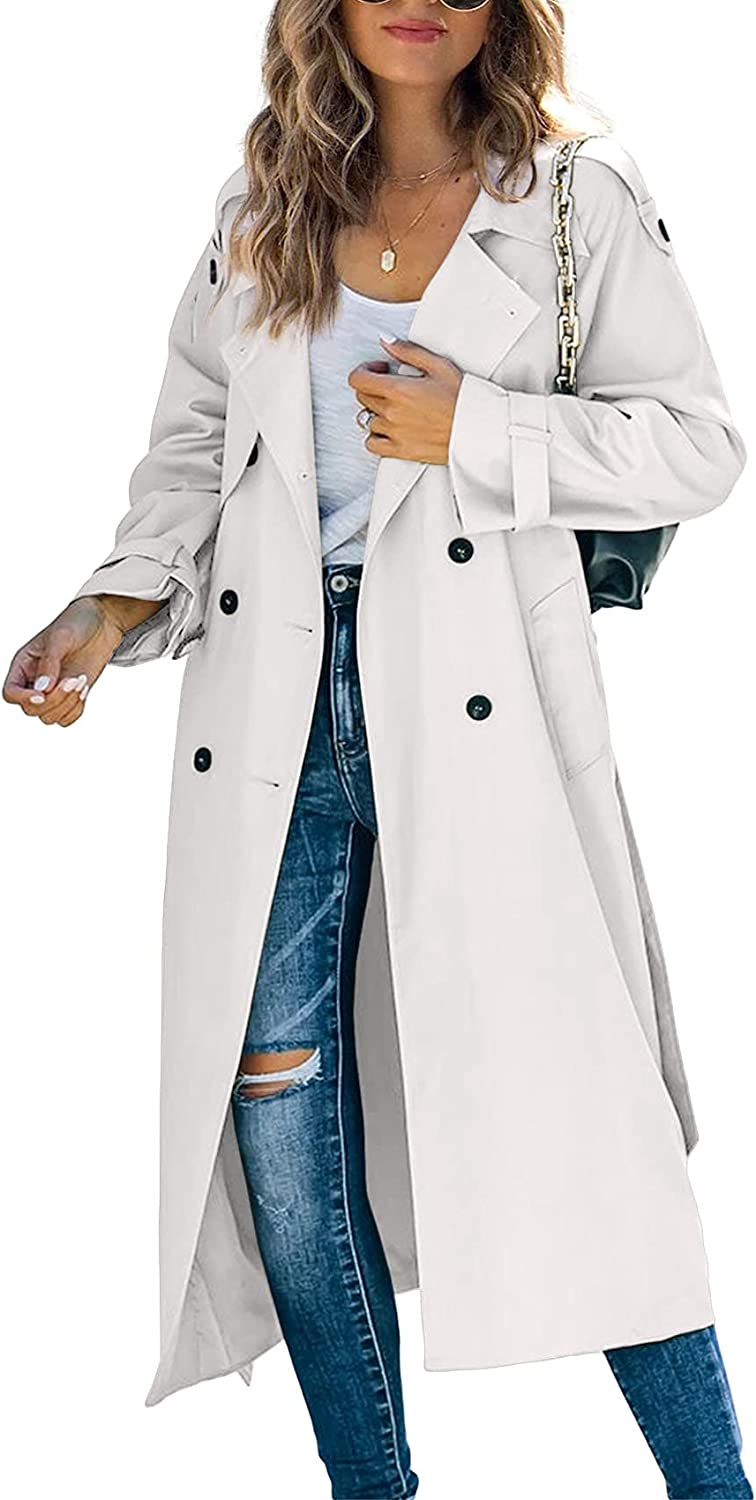 Cheap bargain Makkrom Women's Over item handling ☆ Double Breasted Long Windproof Coat Trench Class