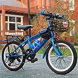 JHKGY Bicicletas para Niños,Bicicleta De Montaña Freno De Disco Velocidad Variable Bicicleta Infantil,Frenos Delanteros Y Traseros,Marco De Acero De Alto Carbono,Azul,24 Inches