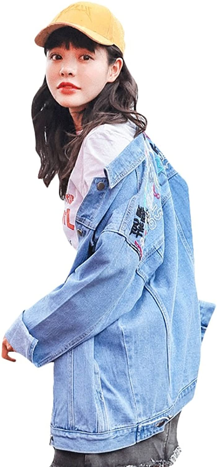 TSINYG Women Fashion Loose Embroidery Denim Jacket Student BF Style Casual Coat ( color   bluee , Size   S )