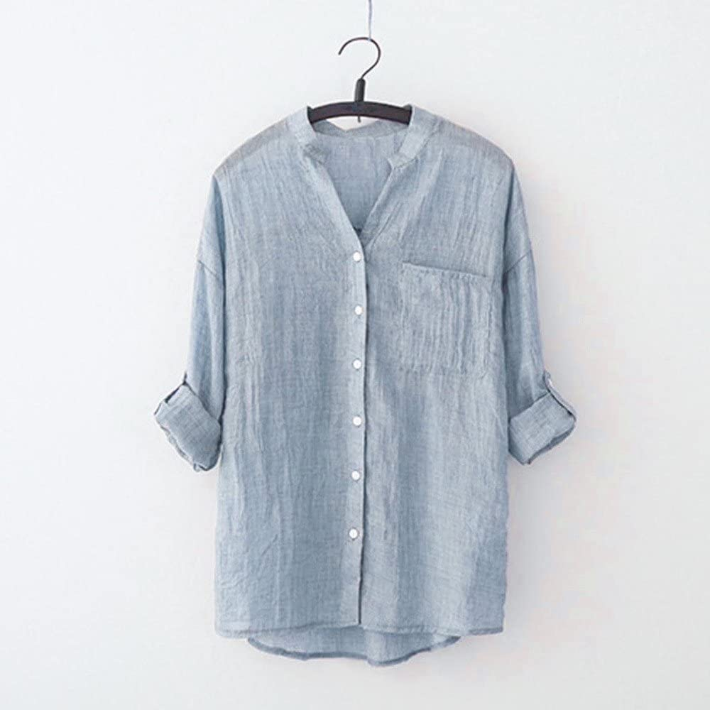 Women Tops Women Stand Collar Long Sleeve Shirt Casual Blouse Button Down Tops Plus Size