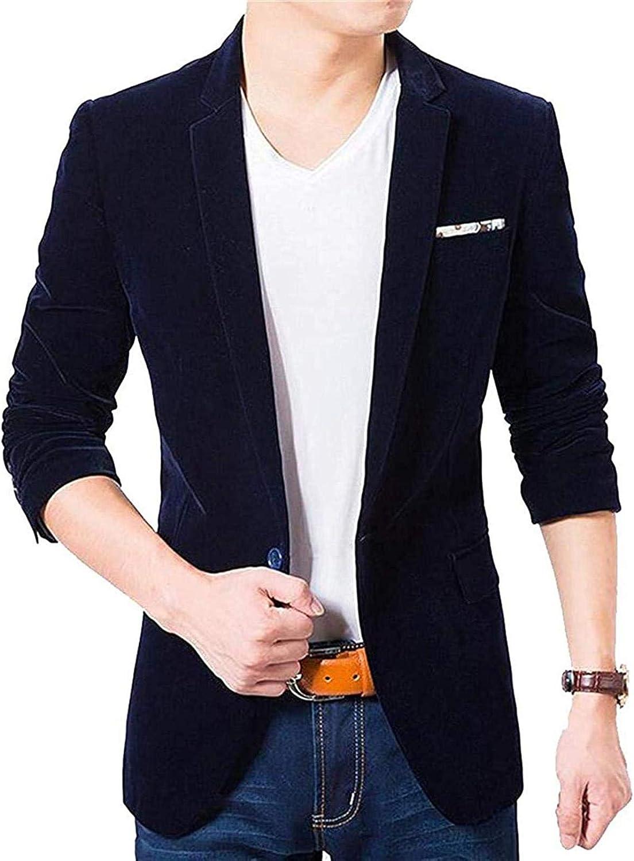 Men's Slim One Button Corduroy Casual Solid Dress Blazer Jacket Sport Coat