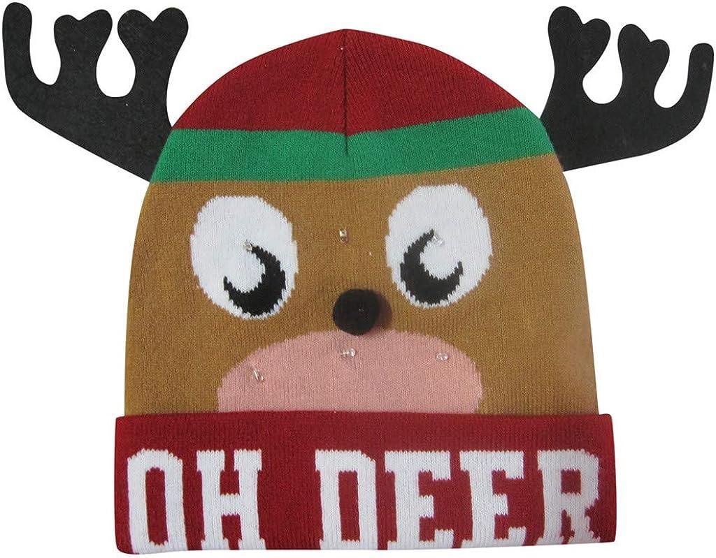 LED Light-up Knitted Ugly Cap Novelties Holiday Xmas Christmas Beanie for Party Adults Bulk Large KLGDA