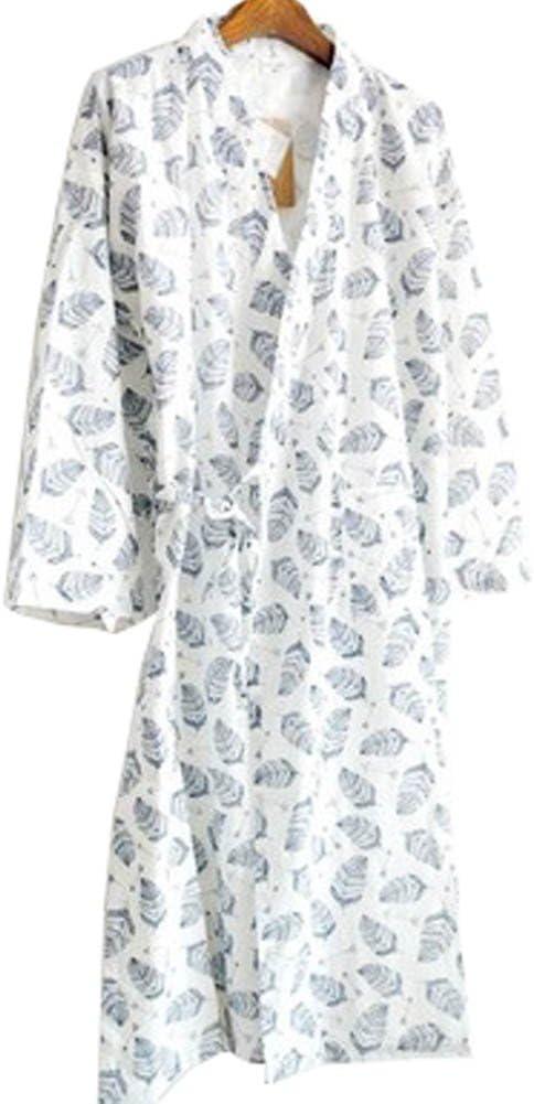 WuKong Direct Men Soft Kimono Robe Cotton Bathrobe Sleepwear, Asian Size L (White Leaves)