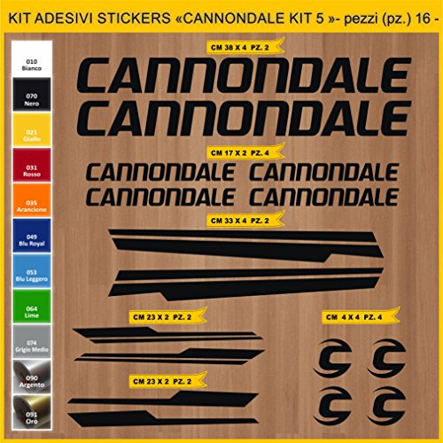 Pimastickerslab Aufkleber Fahrrad CANNONDALE - KIT5- Kit Aufkleber Stickers 16 Stück – bici Bike Cycle wählbar Cod.0918 (070 NERO)