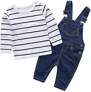Cute Baby Boys Clothes Toddler Jumpsuit Rompers Jean Overalls Set with Stripe T-Shirt