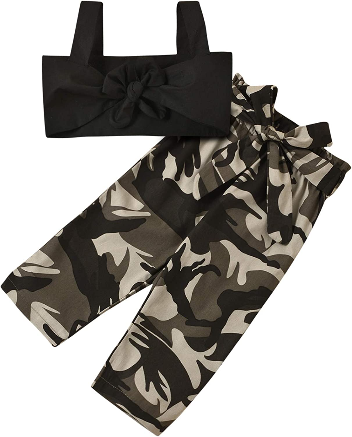Toddler Girl Summer Outfit Set Sleeveless Off Shoulder Suspender Crop Top+Camouflage Pants Two Piece Casual Clothes