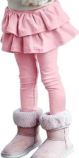 ZIYOYOR Kids Girls Elastic Waist Fleece Lined Leggings with Ruffle Tutu Skirt