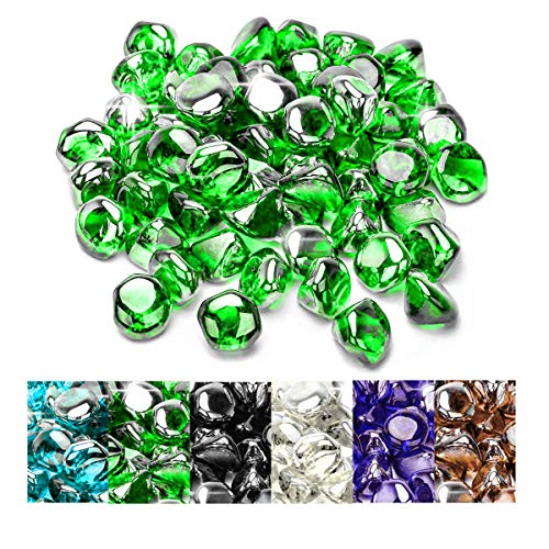 onlyfire 10-Pound High Luster Fire Glass Diamonds for Natural or Propane Fire Pit Fireplace & Landscaping, 1/2-Inch Emerald Green